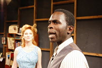 Sally Leonard (Helena Charles), Jimmy Akingbola (Jimmy Porter) in LOOK BACK IN ANGER by John Osborne at the Jermyn Street Theatre, London SW1  02/07/2008  design: Marialena Kapotopoulou   director: A...