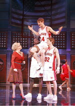 HIGH SCHOOL MUSICAL - LIVE ON STAGE   director: Jeff Calhoun ~left: Letitia Dean (Ms Darbus)   held aloft: Mark Evans (Troy Bolton)~Disney Theatrical Production / Hammersmith Apollo, London W6   05/07...