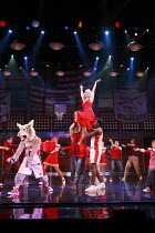 HIGH SCHOOL MUSICAL - LIVE ON STAGE   director: Jeff Calhoun ~held aloft: Rebecca Faulkenberry (Sharpay Evans)~Disney Theatrical Production / Hammersmith Apollo, London W6   05/07/2008