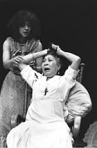 BLOOD WEDDING   by Lorca   design: Kendra Ullyart   director: Yvonne Brewster ~l-r: Josephine Welcome (The Neighbour), Mona Hammond (The Mother)~Cottesloe Theatre / National Theatre (NT), London SE1...