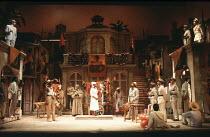 MEASURE FOR MEASURE   by Shakespeare   set design: Eileen Diss   costumes: Lindy Hemming   director: Michael Rudman   top left: Peter Straker (Lucio)   below centre: Yvette Harris (Isabella)   top ri...