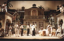 MEASURE FOR MEASURE   by Shakespeare   set design: Eileen Diss   costumes: Lindy Hemming   director: Michael Rudman   top left: Oscar James (Pompey Bum)   top right: Peter Straker (Lucio) Lyttelton...