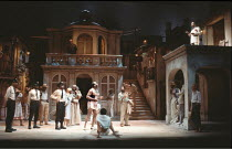 MEASURE FOR MEASURE   by Shakespeare   set design: Eileen Diss   costumes: Lindy Hemming   director: Michael Rudman   below centre: Oscar James (Pompey Bum)   top right: Peter Straker (Lucio) Lyttel...