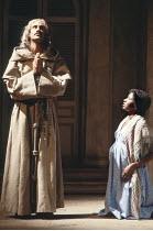 MEASURE FOR MEASURE   by Shakespeare    set design: Eileen Diss   costumes: Lindy Hemming   director: Michael Rudman   Stefan Kalipha (The Duke), Elizabeth AdarE (Juliet) Lyttelton Theatre / Nation...