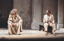 MEASURE FOR MEASURE   by Shakespeare   set design: Eileen Diss   costumes: Lindy Hemming   director: Michael Rudman   l-r: Stefan Kalipha (The Duke), Peter Straker (Lucio) Lyttelton Theatre / Nation...