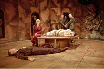 'ROMEO AND JULIET' (Shakespeare - director: Rupert Goold)~final (tomb) scene   foreground (dead): Mark Davison (Paris)   centre left: Valerie Holliman (Lady Capulet)  ~lying dead: Kate Fleetwood (Juli...