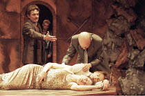 ROMEO AND JULIET   by Shakespeare   director: Rupert Goold ~final (tomb) scene   foreground lying dead: Kate Fleetwood (Juliet), Nicholas Irons (Romeo)   rear l-r: Tim Hardy (Capulet), Tim Frances (Mo...