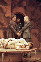ROMEO AND JULIET   by Shakespeare   director: Rupert Goold ~final (tomb) scene   foreground lying dead: Kate Fleetwood (Juliet), Nicholas Irons (Romeo)   ~rear l-r: Tim Hardy (Capulet), Tim Frances (M...
