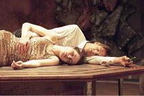 ROMEO AND JULIET   by Shakespeare   director: Rupert Goold ~final (tomb) scene   lying dead: Kate Fleetwood (Juliet), Nicholas Irons (Romeo)  ~Greenwich Theatre, London SE                   09/02/1998