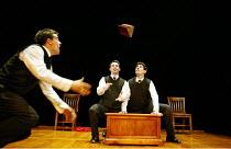 'SHAKESPEARE'S R & J' (adapted/directed by Joe Calarco, after Shakespeare)~l-r: Matthew Sincell, Jason Michael Spelbring, Jason Dubin~The Splinter Group / Arts Theatre, London WC2    08/09/2003