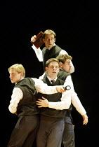'SHAKESPEARE'S R & J' (adapted/directed by Joe Calarco, after Shakespeare)~top: Matthew Sincell   l-r: Jeremy Beck, Jason Michael Spelbring, Jason Dubin~The Splinter Group / Arts Theatre, London WC2...
