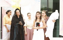 BLOOD WEDDING   by Lorca   in a version by Ted Hughes ~2nd left: Ruth James (Death)   front right: Emily Patrikios (The Bride) ~The Scoop at More London, Riverside SE1    01/08/2008