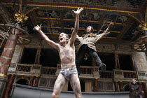 TIMON OF ATHENS   by Shakespeare   design: William Dudley   director: Lucy Bailey ~l-r: Simon Paisley Day (Timon of Athens), Adam Burton (Bandit)~Shakespeare's Globe (SG), London SE1          06/08/20...