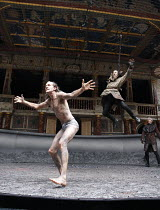 TIMON OF ATHENS   by Shakespeare   design: William Dudley   director: Lucy Bailey ~l-r: Simon Paisley Day (Timon of Athens), Adam Burton (Bandit), Sam Parks (Bandit)~Shakespeare's Globe (SG), London S...