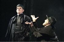 THE MERCHANT OF VENICE   by Shakespeare   set design: Robert Jones   costumes: Sue Willmington   director: Gregory Doran   l-r: Julian Curry (Antonio), Philip Voss (Shylock) Royal Shakespeare Compa...