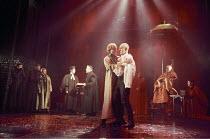 THE MERCHANT OF VENICE   by Shakespeare   set design: Robert Jones   costumes: Sue Willmington   director: Gregory Doran   IV/i - centre, l-r: Scott Handy (Bassanio), Julian Curry (Antonio) Royal S...