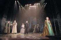THE MERCHANT OF VENICE   by Shakespeare   set design: Robert Jones   costumes: Sue Willmington   director: Gregory Doran   V - l-r: Jimmy Chisholm (Launcelot Gobbo), Scott Handy (Bassanio), Sian Ree...