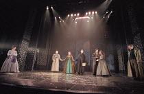 THE MERCHANT OF VENICE   by Shakespeare   set design: Robert Jones   costumes: Sue Willmington   director: Gregory Doran   V - l-r: Sian Reeves (Nerissa), Scott Handy (Bassanio), Helen Schlesinger (...