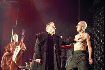 THE MERCHANT OF VENICE   by Shakespeare   set design: Robert Jones   costumes: Sue Willmington   director: Gregory Doran   IV/i - l-r: (rear) Sandy McNab (Duke of Venice), Philip Voss (Shylock), Jul...