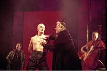 THE MERCHANT OF VENICE   by Shakespeare   set design: Robert Jones   costumes: Sue Willmington   director: Gregory Doran   IV/i - l-r: Julian Curry (Antonio), Philip Voss (Shylock) Royal Shakespear...