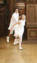 ROMEO AND JULIET   by Shakespeare   costume design: Jenny Tiramani   director: Tamara Harvey ~Santiago Cabrera (Romeo), Juliet Rylance (Juliet)~Theatre of Memory / Middle Temple Hall, London EC4   26/...