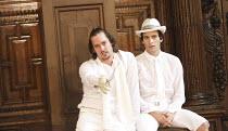 ROMEO AND JULIET   by Shakespeare   costume design: Jenny Tiramani   director: Tamara Harvey ~l-r: Will Kemp (Mercutio), Santiago Cabrera (Romeo)~Theatre of Memory / Middle Temple Hall, London EC4   2...