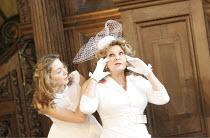 ROMEO AND JULIET   by Shakespeare   costume design: Jenny Tiramani   director: Tamara Harvey ~l-r: Juliet Rylance (Juliet), Ann Mitchell (Nurse)~Theatre of Memory / Middle Temple Hall, London EC4    2...