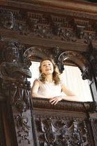 ROMEO AND JULIET   by Shakespeare   costume design: Jenny Tiramani   director: Tamara Harvey ~balcony scene: Juliet Rylance (Juliet)~Theatre of Memory / Middle Temple Hall, London EC4    26/08/2008