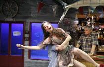 SMALL CRAFT WARNINGS   by Tennessee Williams   design: Hayden Griffin   lighting: Johanna Town   director: Bill Bryden ~Meredith McNeil (Violet), (rear) Jack Shepherd (Monk)~Arcola Theatre, London E8...