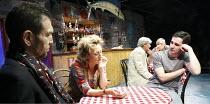 SMALL CRAFT WARNINGS   by Tennessee Williams   design: Hayden Griffin   lighting: Johanna Town   director: Bill Bryden ~front, l-r: Greg Hicks (Quentin), Sian Thomas (Leona), Iain Robertson (Bobby)~Ar...