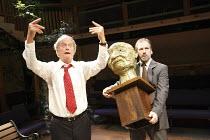 LEAVING   by Vaclav Havel   director: Sam Walters ~l-r: Geoffrey Beevers (Dr. Vilem Rieger), Stuart Fox (Hanus) with a bust of Gandhi~Orange Tree Theatre, Richmond, Surrey, England         23/09/2008