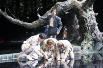 LOVE'S LABOUR'S LOST   by Shakespeare   set design: Francis O'Connor   costumes: Katrina Lindsay   lighting: Tim Mitchell   director: Gregory Doran ~standing: David Tennant (Berowne)   kneeling, l-r:...