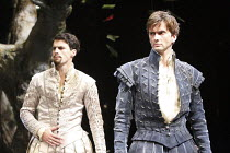 LOVE'S LABOUR'S LOST   by Shakespeare   set design: Francis O'Connor   costumes: Katrina Lindsay   lighting: Tim Mitchell   director: Gregory Doran ~l-r: Edward Bennett (Ferdinand, King of Navarre), D...