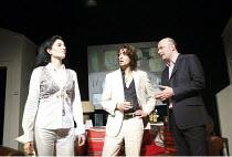 AUGUSTA   by Alan Franks   design: Norman Coates   director: Chrys Salt   l-r: Antonia Frering (Augusta), James Palmer (Daniel), Jonathan Rigby (Patrick) New End Theatre, London NW3...