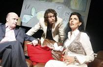 AUGUSTA   by Alan Franks   design: Norman Coates   director: Chrys Salt   l-r: Jonathan Rigby (Patrick), James Palmer (Daniel), Antonia Frering (Augusta) New End Theatre, London NW3...