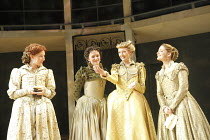 LOVE'S LABOUR'S LOST   by Shakespeare   design: Christopher Woods   lighting: James Whiteside   director: Peter Hall ~l-r: Sally Scott (Katherine), Susie Trayling (Rosaline), Rachel Pickup (Princess o...