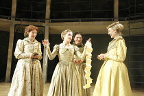 LOVE'S LABOUR'S LOST   by Shakespeare   design: Christopher Woods   lighting: James Whiteside   director: Peter Hall ~l-r: Sally Scott (Katherine), Nelly Barker (Maria), Susie Trayling (Rosaline), Rac...
