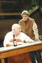 AUDIENCE   by Vaclav Havel   director: Geoffrey Beevers ~l-r: Robert Austin (Foreman), David Antrobus (Vanek)~Orange Tree Theatre, Richmond, Surrey, England         31/10/2008