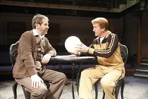 MOUNTAIN HOTEL   by Vaclav Havel   director: Sam Walters ~l-r: Stuart Fox (Kubik), Mike Sengelow (Tetz)~Orange Tree Theatre, Richmond, Surrey, England         31/10/2008