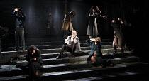 KING LEAR   by Shakespeare   set design: Giles Cadle   costumes: Nicki Gillibrand   lighting: Howard Harrison   director: Rupert Goold ~centre: Pete Postlethwaite (King Lear)~Everyman Theatre, Liverpo...