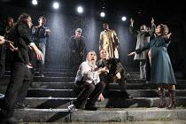 KING LEAR   by Shakespeare   set design: Giles Cadle   costumes: Nicki Gillibrand   lighting: Howard Harrison   director: Rupert Goold ~front centre, l-r: Pete Postlethwaite (King Lear), Nigel Cooke (...