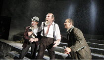 KING LEAR   by Shakespeare   set design: Giles Cadle   costumes: Nicki Gillibrand   lighting: Howard Harrison   director: Rupert Goold ~l-r: Forbes Masson (Fool), Pete Postlethwaite (King Lear), Nigel...