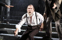 KING LEAR   by Shakespeare   set design: Giles Cadle   costumes: Nicki Gillibrand   lighting: Howard Harrison   director: Rupert Goold ~Pete Postlethwaite (King Lear)~Everyman Theatre, Liverpool / Eng...