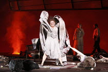 ELEKTRA   by Richard Strauss   conductor: Mark Elder   set design & direction: Charles Edwards   costumes: Brigitte Reifenstuel ~Susan Bullock (Elektra)   with (rear) Anne Schwanewilms (Chrysothemis),...