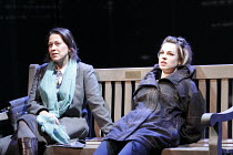 GETHSEMANE   by David Hare   set design: Bob Crowley   costumes: Fotini Dimou   lighting: Mark Henderson   director: Howard Davies ~l-r: Nicola Walker (Lori Drysdale), Jessica Raine (Suzette Guest)~Co...