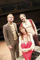 PRIVATE VIEW   by Vaclav Havel   director: Sam Walters ~l-r: Mike Sengelow (Vanek), Carolyn Backhouse (Vera), Stuart Fox (Michael)~Orange Tree Theatre, Richmond, Surrey, England         10/11/2008