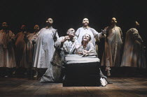 THE THEBANS   by Sophocles   in a new translation by Timberlake Wertenbaker   design: Ultz   director: Adrian Noble ~part ii - OEDIPUS AT COLONUS: centre: Gerard Murphy (Oedipus), Joanne Pearce (Antig...