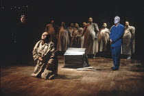THE THEBANS   by Sophocles   in a new translation by Timberlake Wertenbaker   design: Ultz   director: Adrian Noble ~part ii - OEDIPUS AT COLONUS: rear left: John Shrapnel (Creon)   front: Gerard Murp...