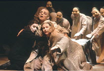 THE THEBANS   by Sophocles   in a new translation by Timberlake Wertenbaker   design: Ultz   director: Adrian Noble ~part ii - OEDIPUS AT COLONUS: front, l-r: Linda Bassett (Ismene), Gerard Murphy (Oe...