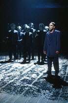 THE THEBANS   by Sophocles   in a new translation by Timberlake Wertenbaker   ~design: Ultz   director: Adrian Noble ~part iii - ANTIGONE: John Shrapnel (Creon)   and Chorus~Royal Shakespeare Company...